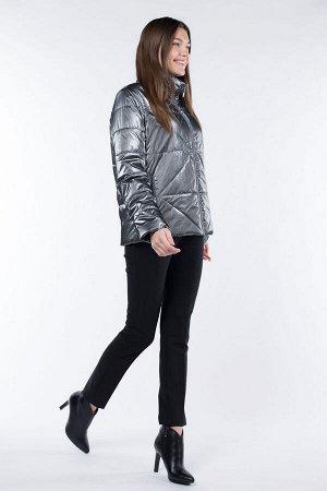 04-2547 Куртка демисезонная (синтепон 100) Плащевка Серый металлик
