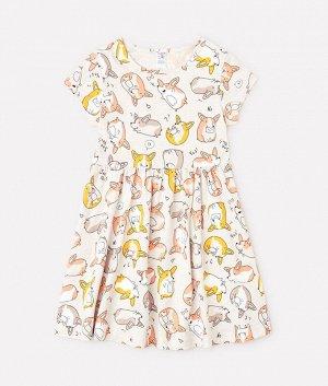 Платье для девочки Crockid К 5646 светло-бежевый меланж, корги к1250