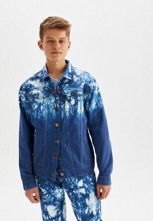 Джинсовая куртка с принтом «тай-дай»