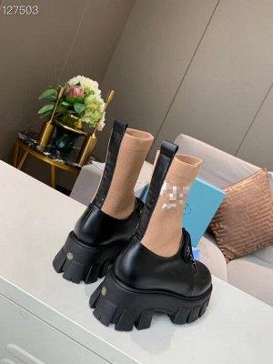 Ботинки Нат.кожа,верх трикотаж