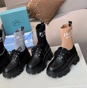 Ботинки Нат.кожа,верх трикотаж Цвет черные с серым