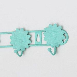 Вешалка настенная на 6 крючков Доляна «Цветок», 41,5?6?4 см, цвет бирюзовый