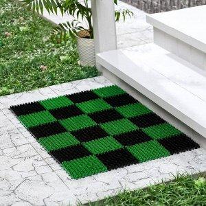 Покрытие ковровое щетинистое «Травка», 54?81 см, цвет чёрно-зелёный