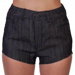 Черные женские шорты – небанальная обработка края, эффект подрезанных брюк №248