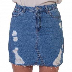 Синяя джинсовая юбка с потертостями – под каблук и кеды №211