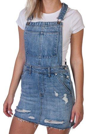 Джинсовая юбка-сарафан – романтичная модель мини с потертостями №209