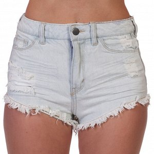 Потрепанные джинсовые женские шортики – кричащий гранж с эффектом «мини» №234