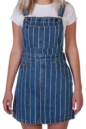 Джинсовое платье-комбинезон – трендовая полоска, кармашки, имитация пояска №218