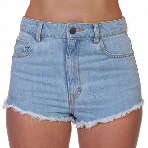 Женские джинсовые мини шорты – небесный деним, бохо-бахрома №232