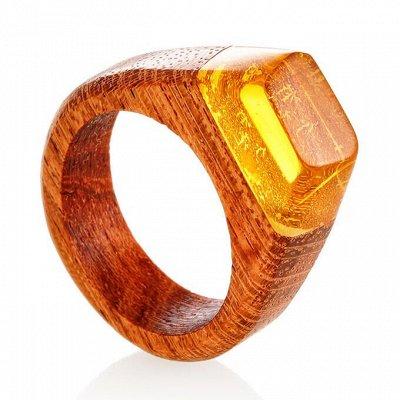 Бижу из настоящего Янтаря      — Деревянные кольца с янтарём — Кольца бижутерия