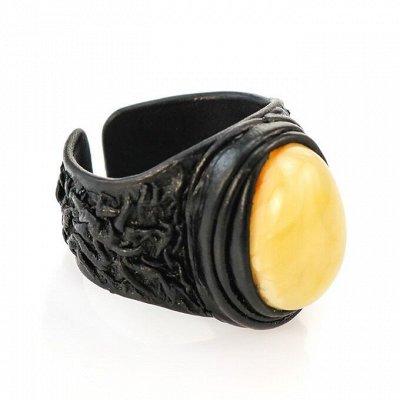 Бижу из настоящего Янтаря      — Кожаные кольца с янтарём — Кольца бижутерия
