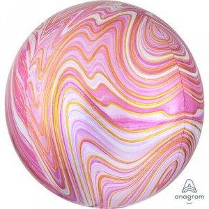 "1209-0328 Шар 3D сфера, фольга,  15""/38 см,  мрамор розовый (AN), инд.уп."
