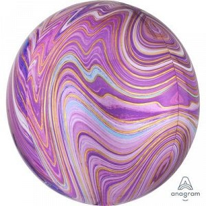 """1209-0327 Шар 3D сфера, фольга,  15""""/38 см,  мрамор фиолетовый (AN), инд. уп."""