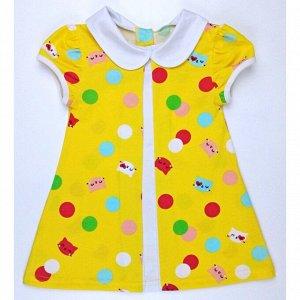 Платье 7066/16 (желтое, кошечки)