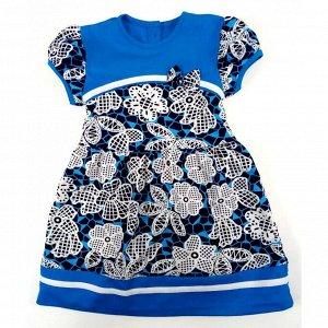 Платье 7111/3 (бирюзовое, цветы)