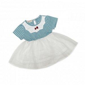 Платье №1 (бирюза, полоска, бантик)