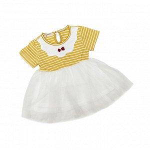 Платье №1 (желтое, полоска, бантик)