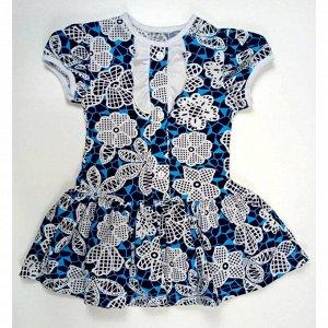Платье 7006/2 (бирюзовое, цветы)
