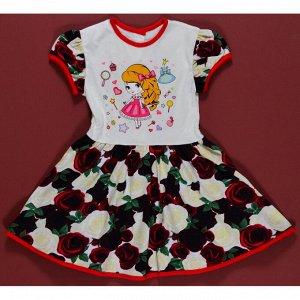 Платье 7028/32 (рисунок. розы темные)
