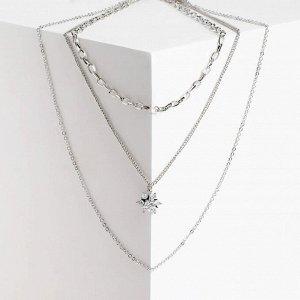 """Кулон """"Цепь"""" сверкающий цветок, цвет серебро, L=55 см"""