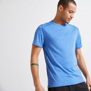 Футболка для фитнеса мужская эластичная 100 синяя DOMYOS