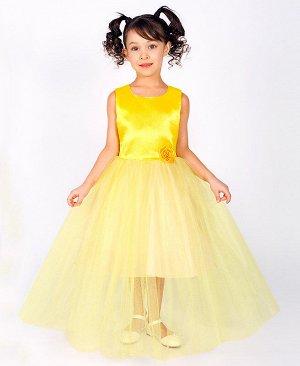 Нарядное жёлтое платье для девочки 83122-ДН18