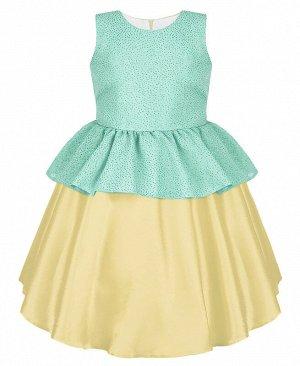 Нарядное платье для девочки цвета шампань 84323-ДН19