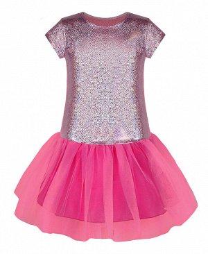 Нарядное розовое платье для девочки 83272-ДН19