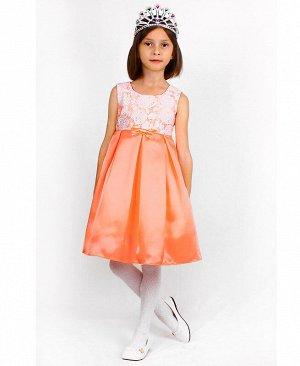Персиковое нарядное платье для девочки 82628-ДН18