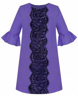 Нарядное сиреневое платье для девочки с воланами 84202-ДН19