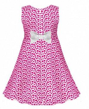 Малиновое платье в горошек для девочки 77403-ДЛ16