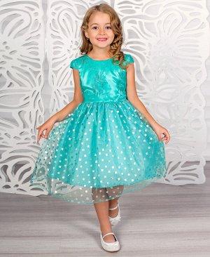 Бирюзовое нарядное платье для девочки 81033-ДН18