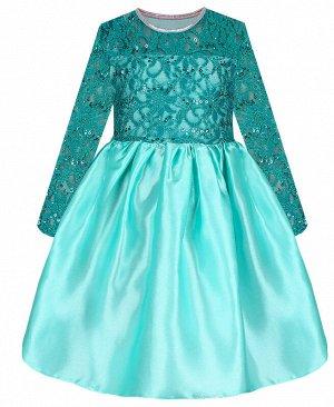 Нарядное платье изумрудного цвета для девочки с гипюром 84175-ДН19