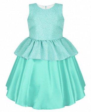 Нарядное платье для девочки ментолового цвета 84324-ДН19