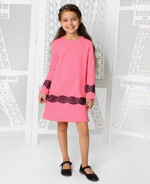 Розовое платье для девочки с гипюром 83033-ДО19