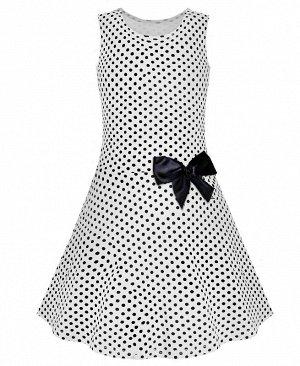Белое платье в горошек для девочки 79353-ДЛ18