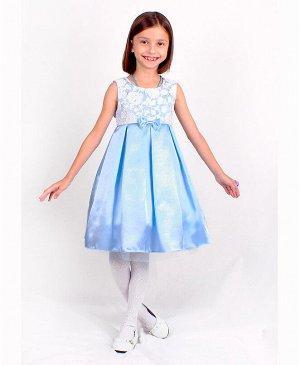 Голубое нарядное платье для девочки 82625-ДН18