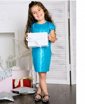 Бирюзовое нарядное платье для девочки 76324-ДН17
