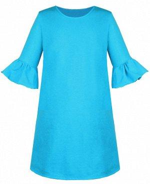 Бирюзовое платье для девочки с воланами 83834-ДОН19