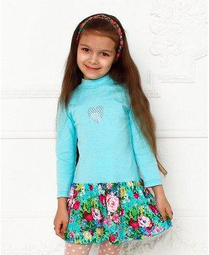 Голубое платье для девочки 78366-ДО17
