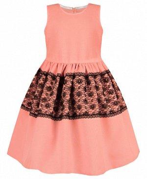 Нарядное персиковое платье для девочки 82563-ДН19