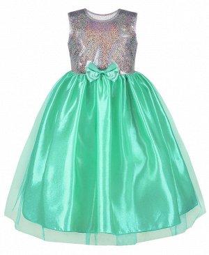 Нарядное бирюзовое платье для девочки 82514-ДН19