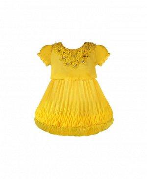 Желтое нарядное платье для девочки 28212-ПСДН16