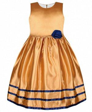 Нарядное золотое платье для девочки с лентами 84342-ДН19