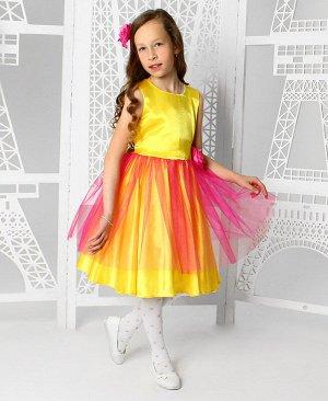 Жёлтое нарядное платье для девочки 82366-ДН19