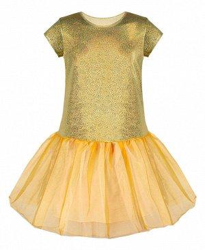 Нарядное золотое платье для девочки 83273-ДН18