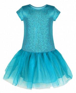 Нарядное бирюзовое платье для девочки 83274-ДН19