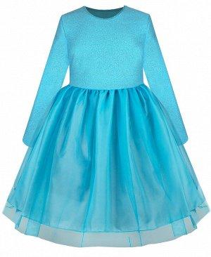 Бирюзовое нарядное платье для девочки 8109-ДН19