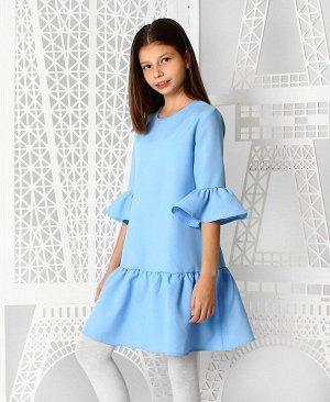 Голубое нарядное платье с воланами для девочки 84211-ДН19