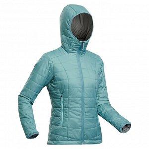 Куртка для треккинга в горах с капюшоном женский TREK 100 серо-голубая FORCLAZ